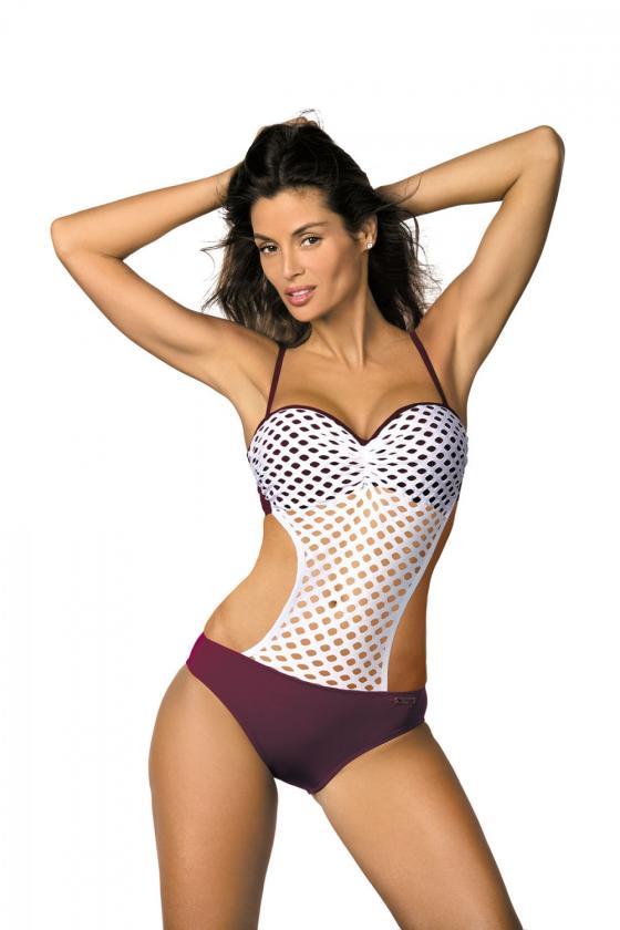 Elastinga raudonos spalvos suknelė dekoruota sagomis
