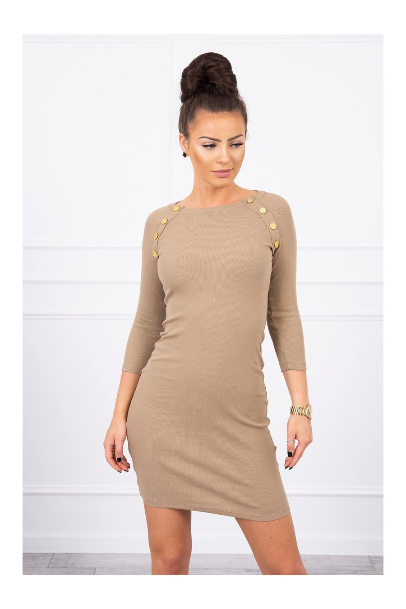 Elastinga kapučino spalvos suknelė dekoruota sagomis_62323