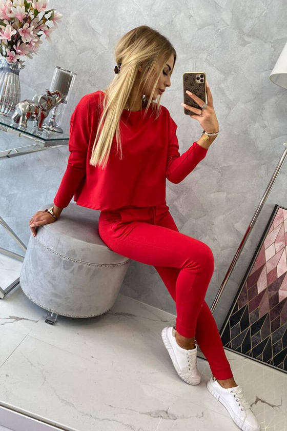 Raudonos spalvos laisvalaikio komplektas su oversize palaidine_62641