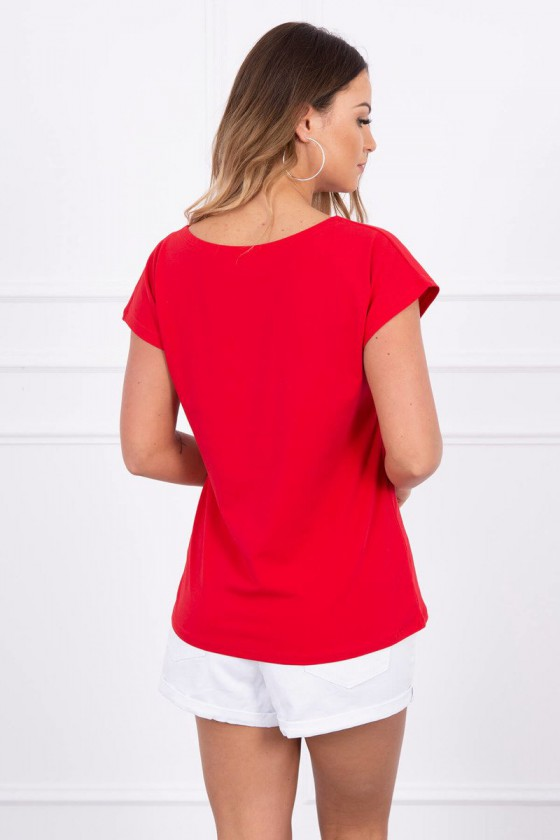 """Raudoni marškinėliai trumpomis rankovėmis """"Kiss""""_62705"""