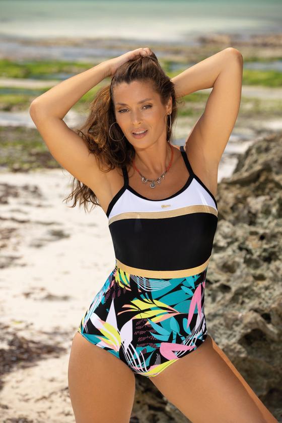 Violetinis sportinis kostiumas dekoruotas juostomis_62712