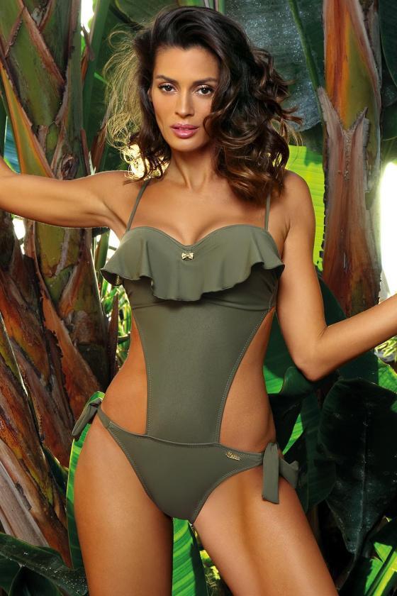 """Žalia """"skater"""" stiliaus suknelė su širdies formos iškirpte_62911"""
