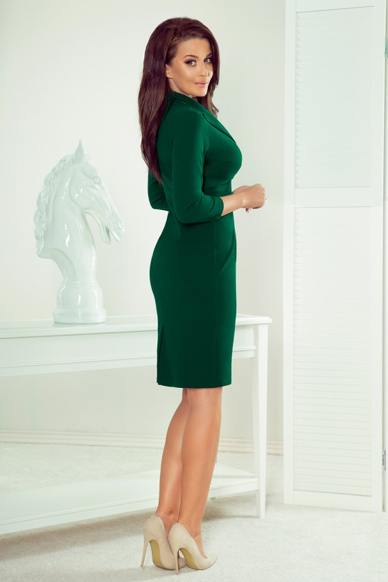 Elegantiška žalios suknelė su V formos iškirpte_62993