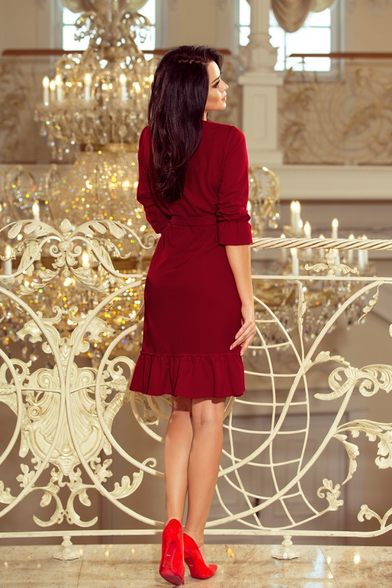 Elegantiška bordinė suknelė su dirželiu_63008