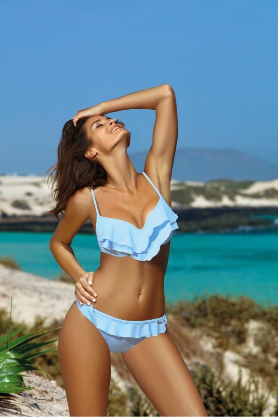 Rožinis maudymosi kostiumėlis su tinklelio detalėmis