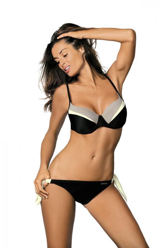 Mėlynas maudymosi kostiumėlis dekoruotas juostomis_63316