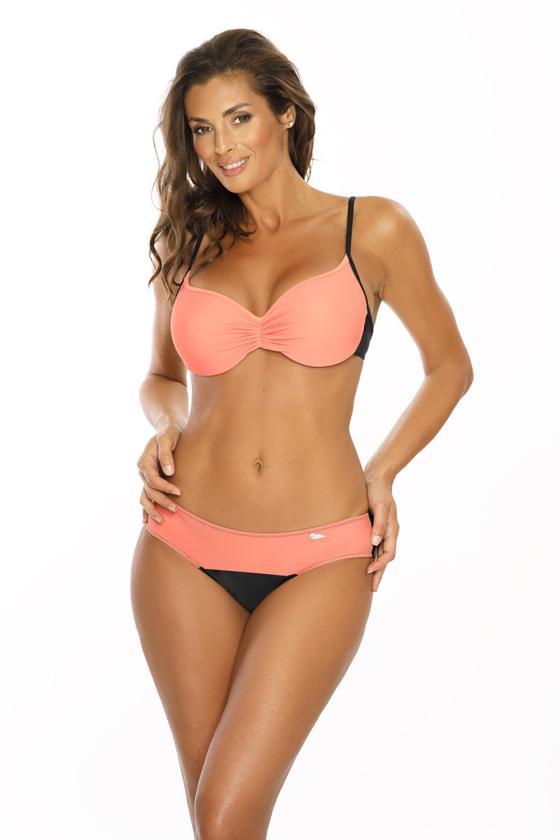 Juodas maudymosi kostiumėlis dekoruotas juostomis_63326