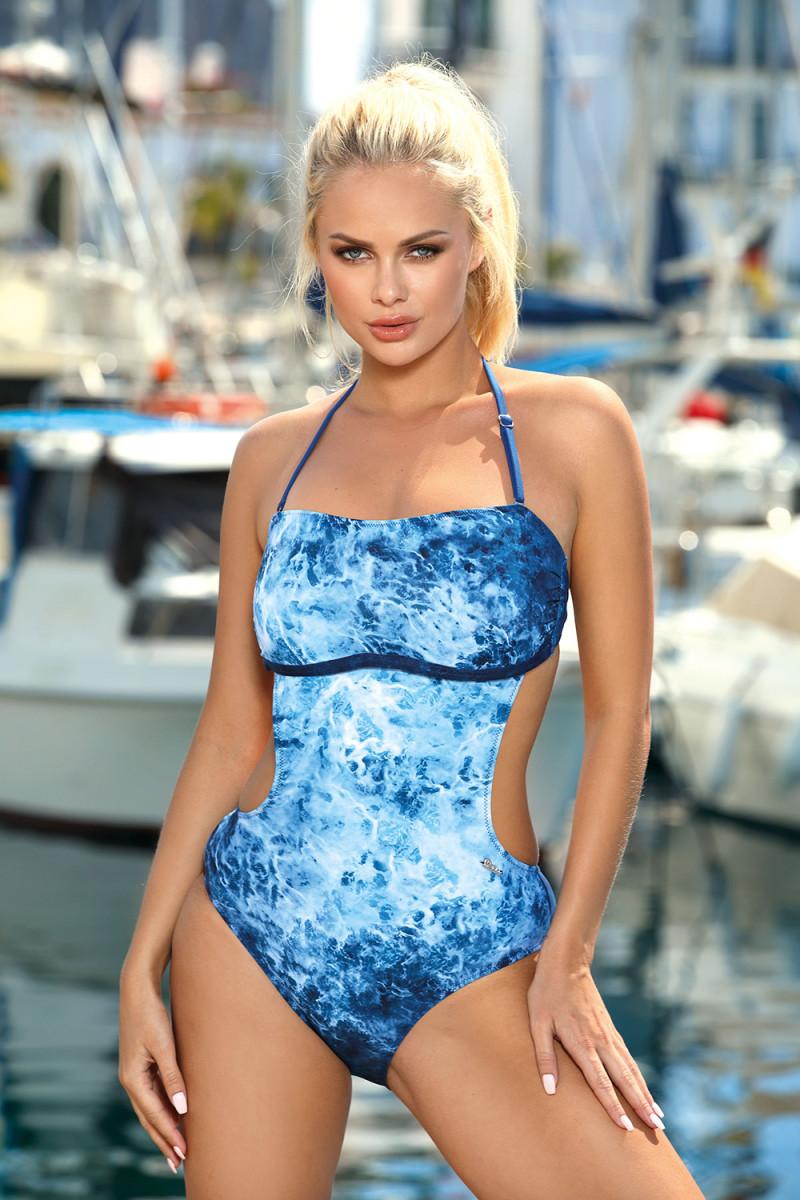 Daili neoninė rožinė suknelė su užrašais ir iškirpte nugaroje