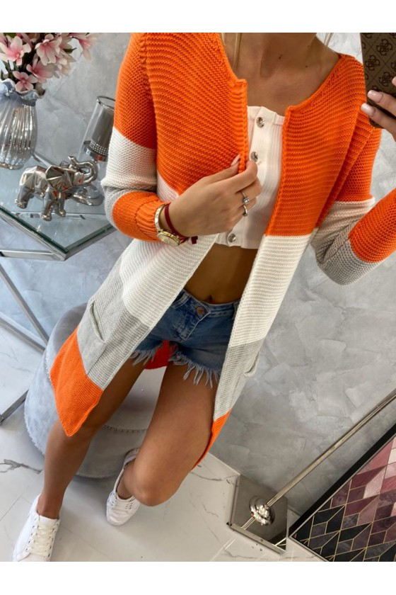 Stilingas kardiganas su orandžinės spalvos juostomis